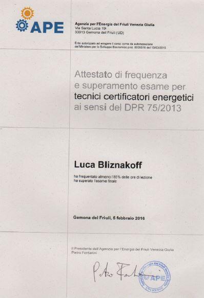 APE certificazione energetica Luca Bliznakoff