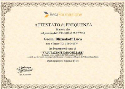 Attestato Valutazione immobiliare Luca Bliznakoff
