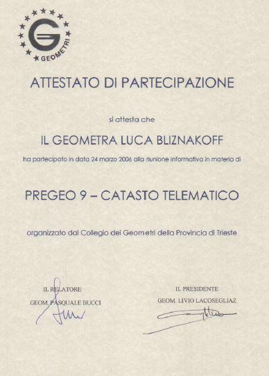 Collegio geometri Trieste Pregeo 9 Catasto telematico Luca Bliznakoff