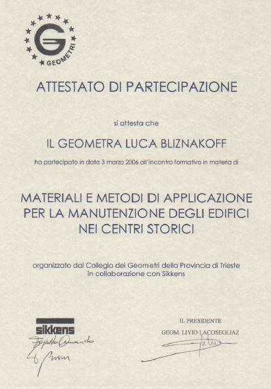 Collegio geometri Trieste manutenzione edifici storici Luca Bliznakoff
