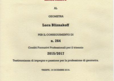 Diploma merito ai crediti Luca Bliznakoff