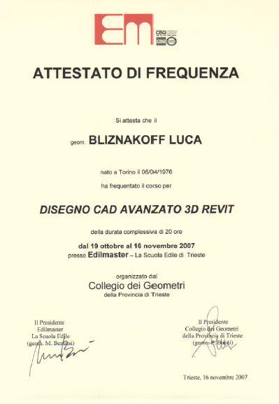 Edilmaster Disegno CAD avanzato 3d Revit Luca Bliznakoff