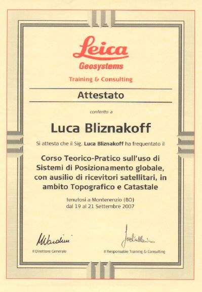 Leica geosystem Rilievi topografici GPS Luca Bliznakoff