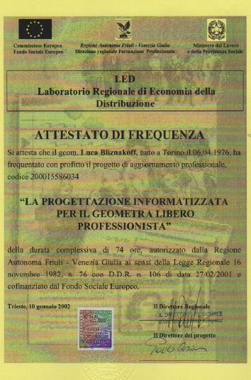 Regione FVG progettazione informatizzata per geometri Luca Bliznakoff