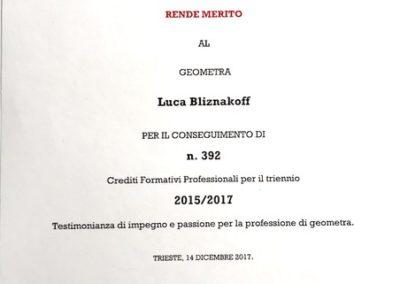 crediti formativi Collegio Geometri Trieste Luca Bliznakoff