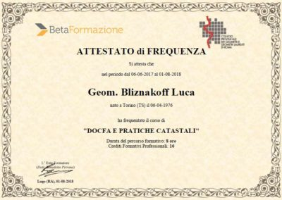 Corso di aggiornamento Docfa e pratiche catastali Geom. Luca Bliznakoff - BlizStudio